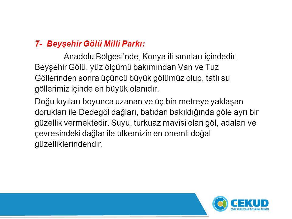7- Beyşehir Gölü Milli Parkı: