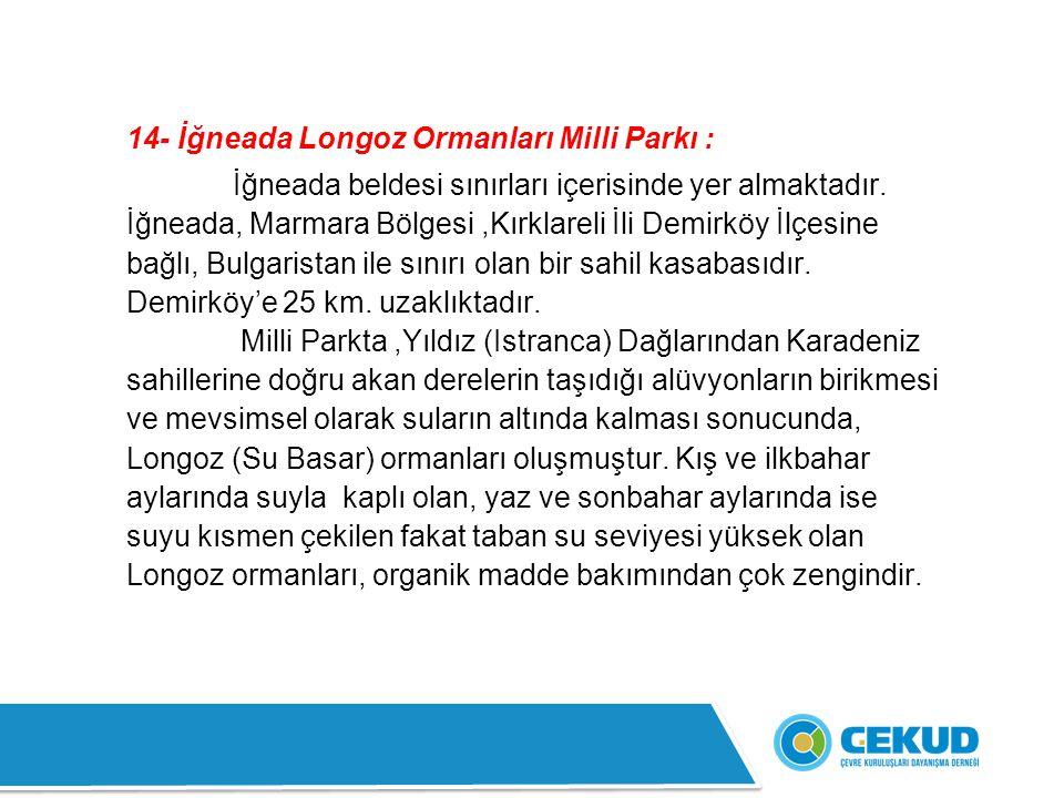 14- İğneada Longoz Ormanları Milli Parkı :