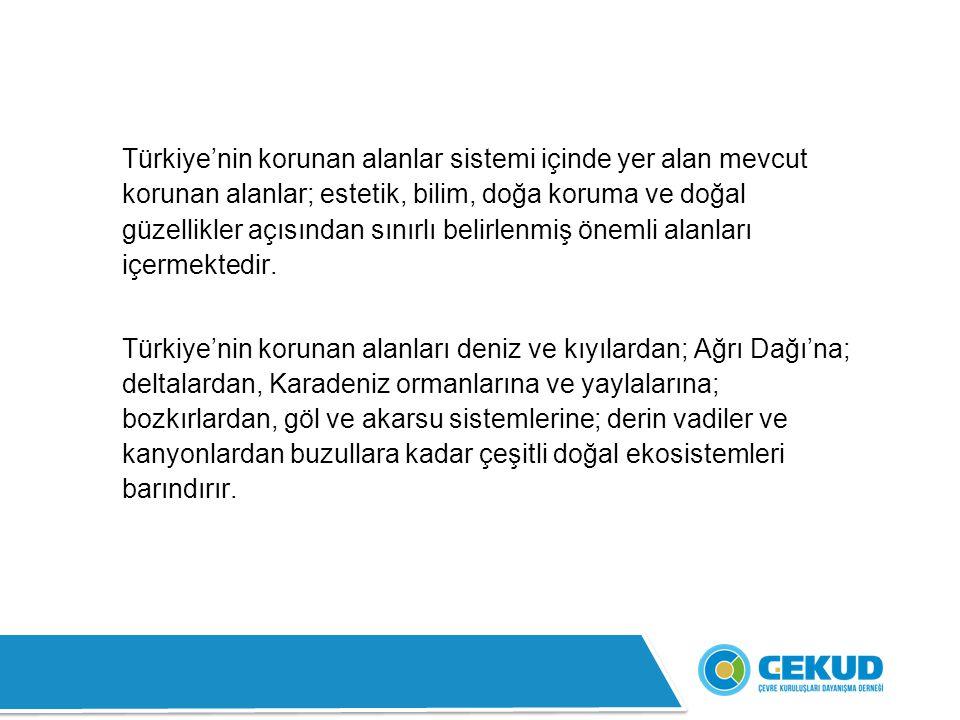 Türkiye'nin korunan alanlar sistemi içinde yer alan mevcut korunan alanlar; estetik, bilim, doğa koruma ve doğal güzellikler açısından sınırlı belirlenmiş önemli alanları içermektedir.