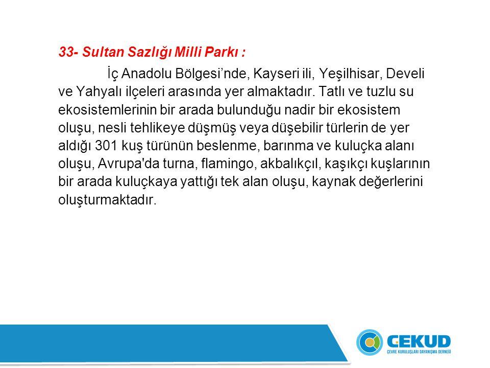33- Sultan Sazlığı Milli Parkı :