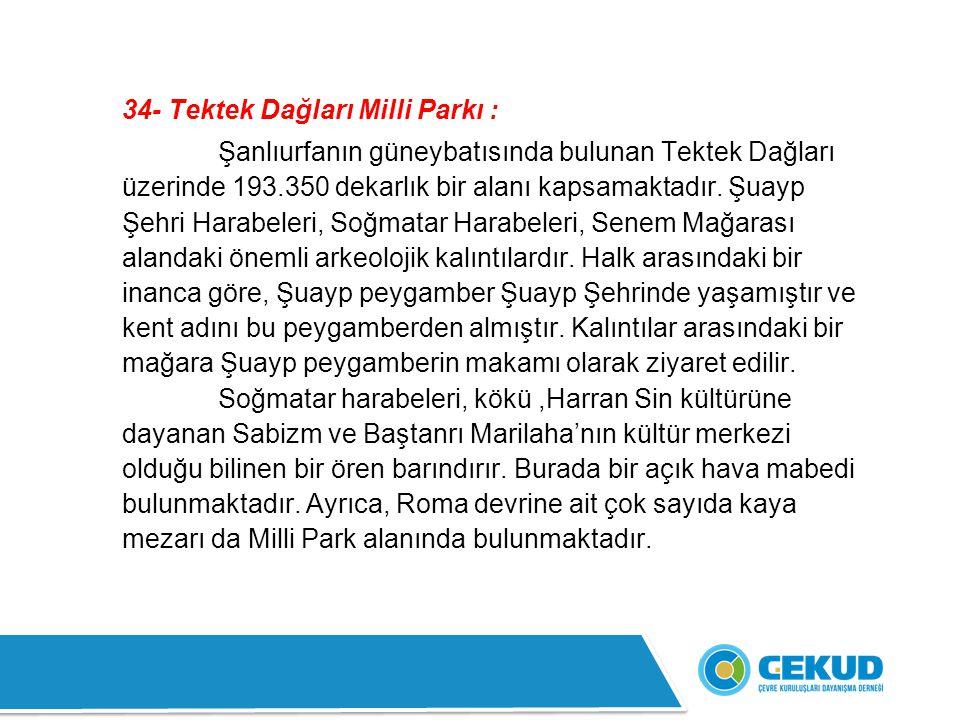 34- Tektek Dağları Milli Parkı :