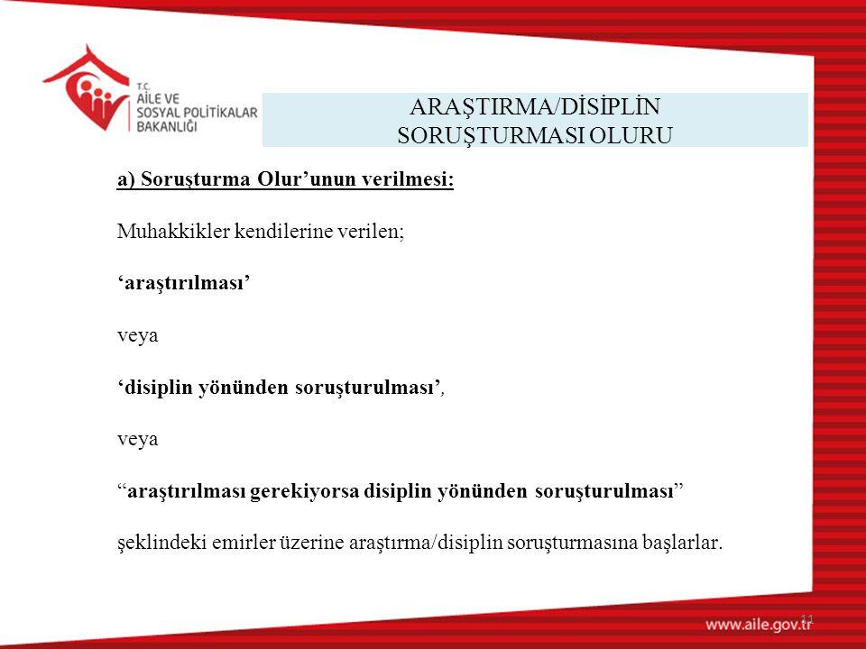 ARAŞTIRMA/DİSİPLİN SORUŞTURMASI OLURU