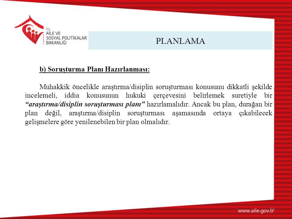 PLANLAMA b) Soruşturma Planı Hazırlanması: