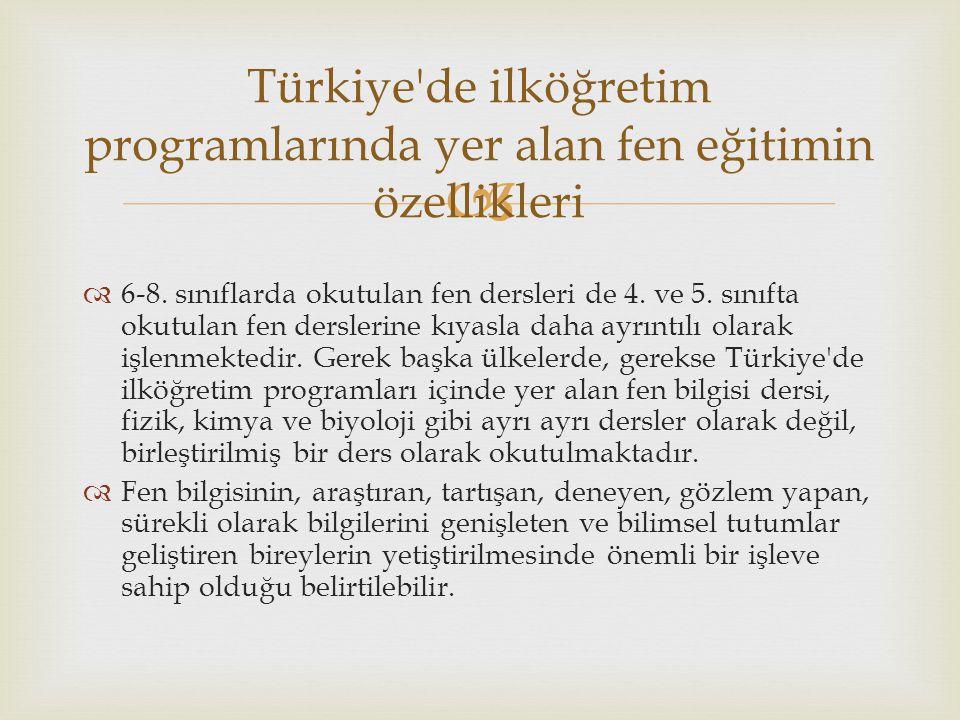 Türkiye de ilköğretim programlarında yer alan fen eğitimin özellikleri