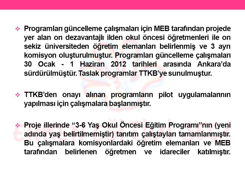 Programları güncelleme çalışmaları için MEB tarafından projede yer alan on dezavantajlı ilden okul öncesi öğretmenleri ile on sekiz üniversiteden öğretim elemanları belirlenmiş ve 3 ayrı komisyon oluşturulmuştur. Programları güncelleme çalışmaları 30 Ocak - 1 Haziran 2012 tarihleri arasında Ankara'da sürdürülmüştür. Taslak programlar TTKB'ye sunulmuştur.