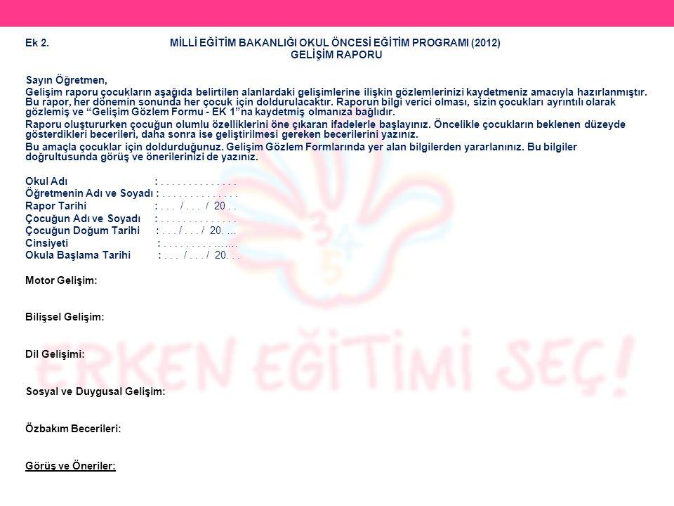 Ek 2. MİLLİ EĞİTİM BAKANLIĞI OKUL ÖNCESİ EĞİTİM PROGRAMI (2012)