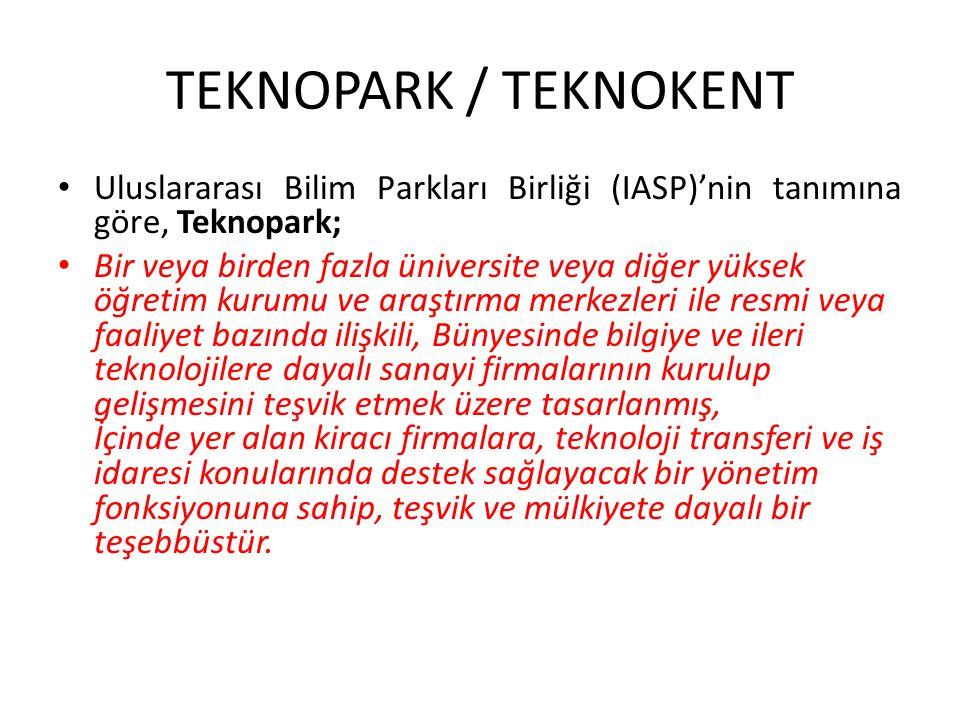 TEKNOPARK / TEKNOKENT Uluslararası Bilim Parkları Birliği (IASP)'nin tanımına göre, Teknopark;
