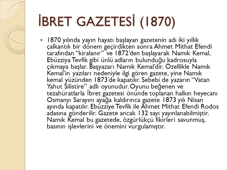 İBRET GAZETESİ (1870)