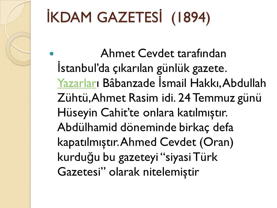 İKDAM GAZETESİ (1894)