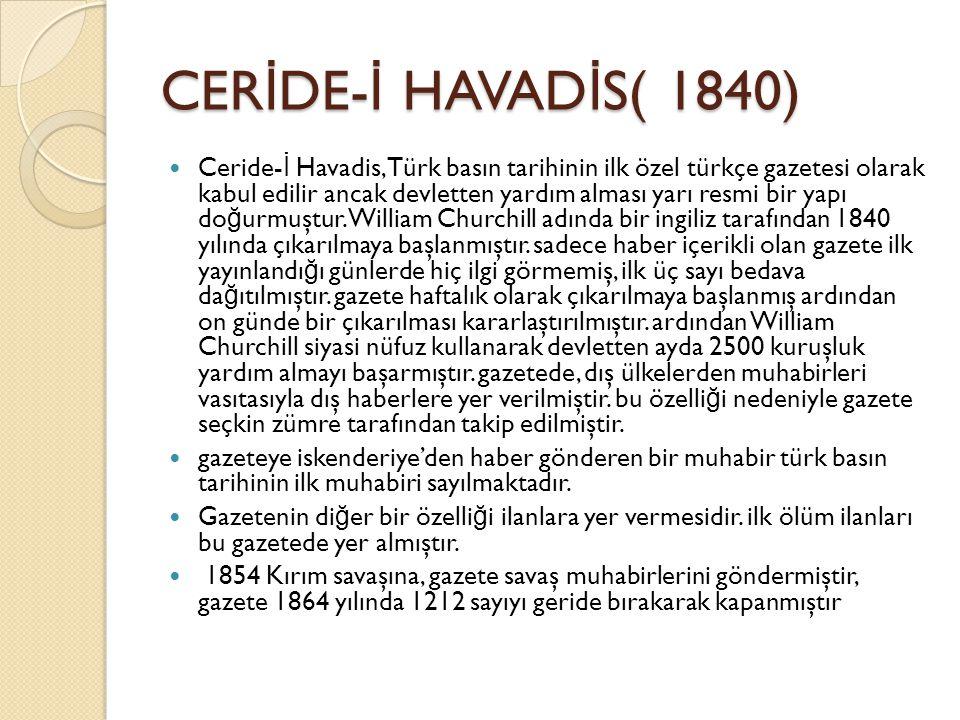 CERİDE-İ HAVADİS( 1840)