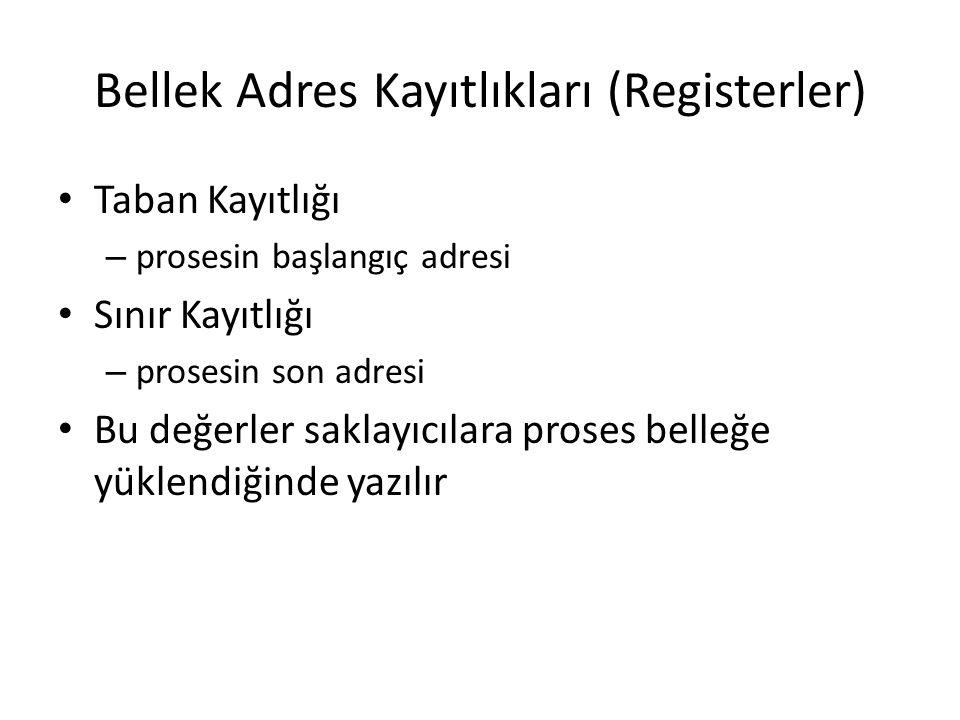 Bellek Adres Kayıtlıkları (Registerler)
