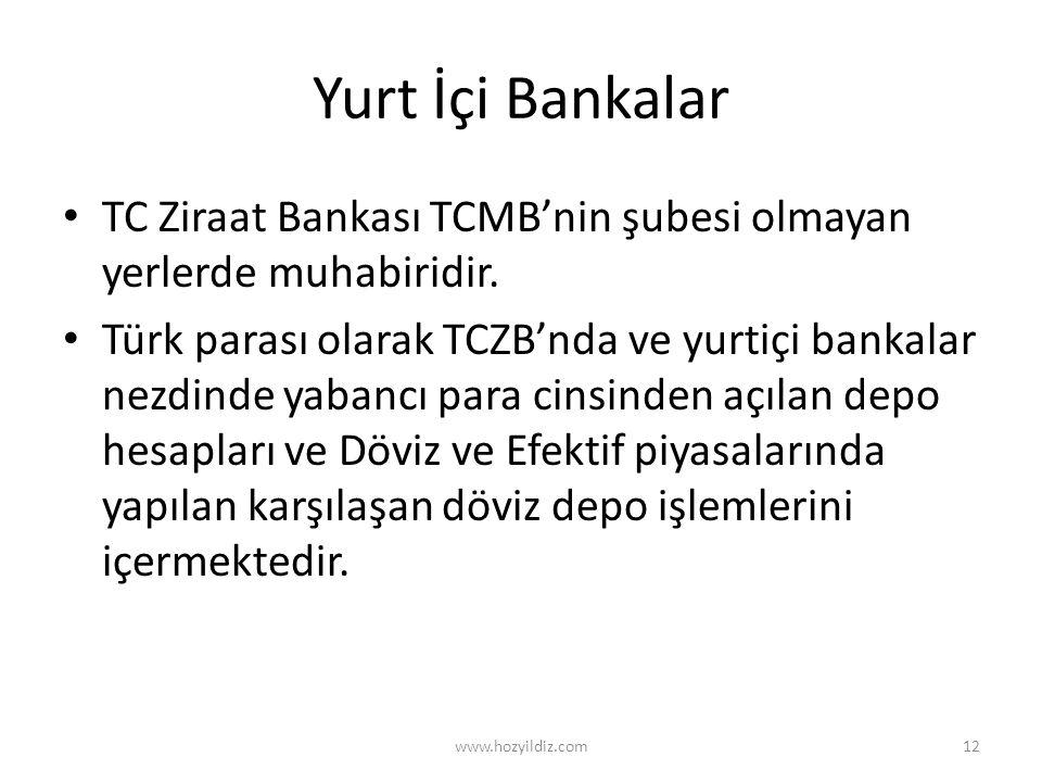 Yurt İçi Bankalar TC Ziraat Bankası TCMB'nin şubesi olmayan yerlerde muhabiridir.