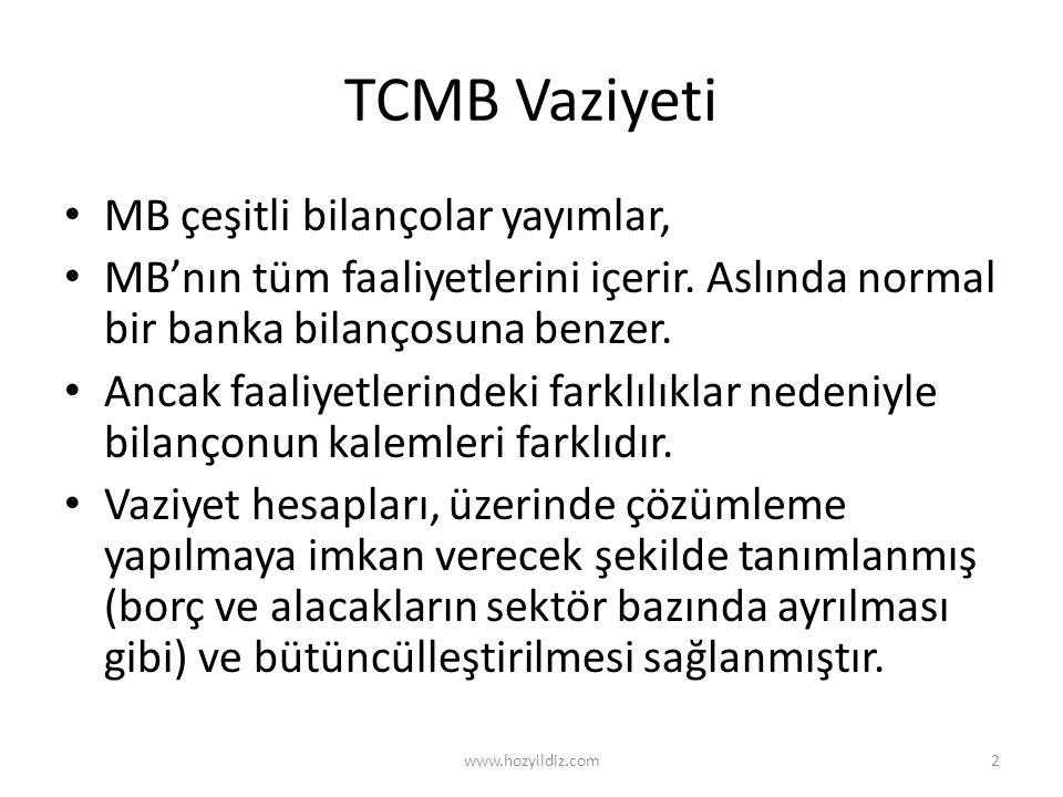 TCMB Vaziyeti MB çeşitli bilançolar yayımlar,