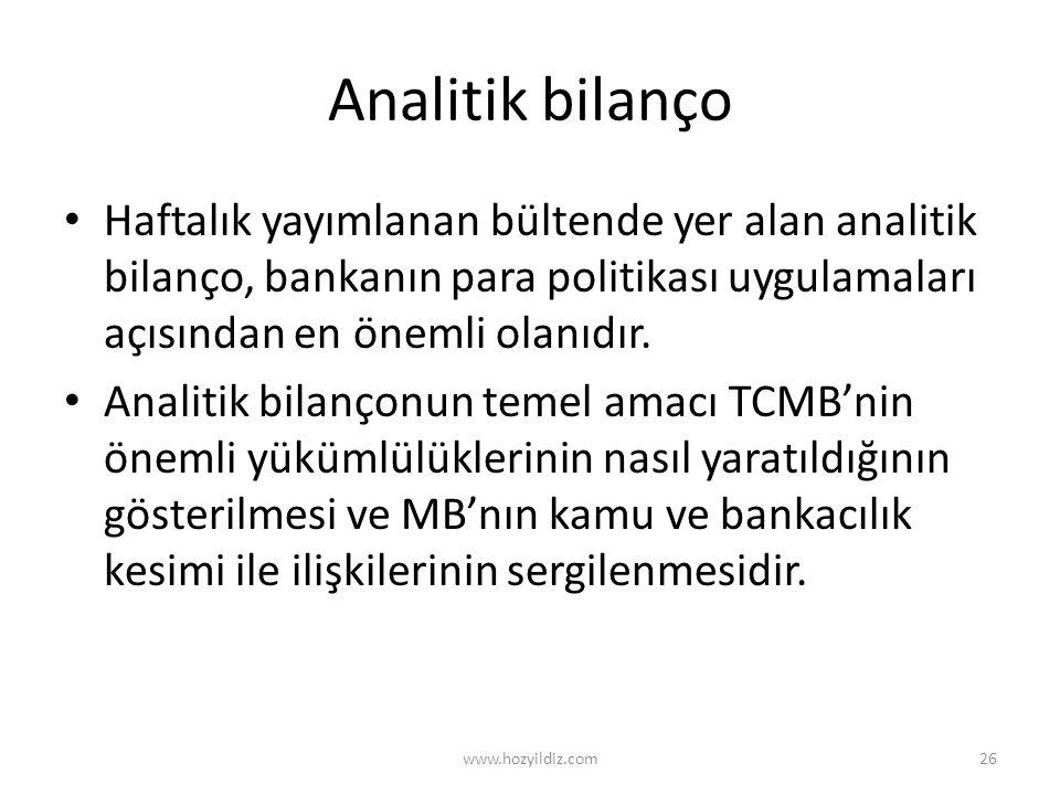 Analitik bilanço Haftalık yayımlanan bültende yer alan analitik bilanço, bankanın para politikası uygulamaları açısından en önemli olanıdır.