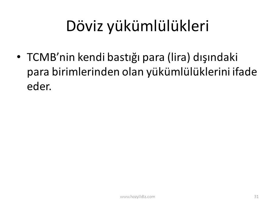 Döviz yükümlülükleri TCMB'nin kendi bastığı para (lira) dışındaki para birimlerinden olan yükümlülüklerini ifade eder.