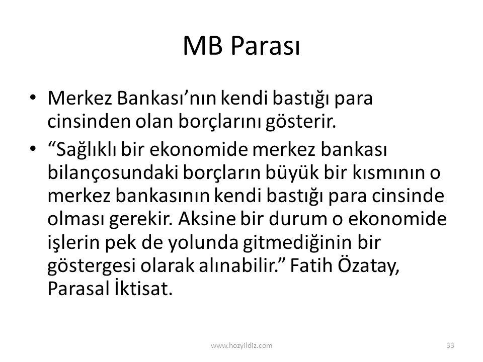 MB Parası Merkez Bankası'nın kendi bastığı para cinsinden olan borçlarını gösterir.