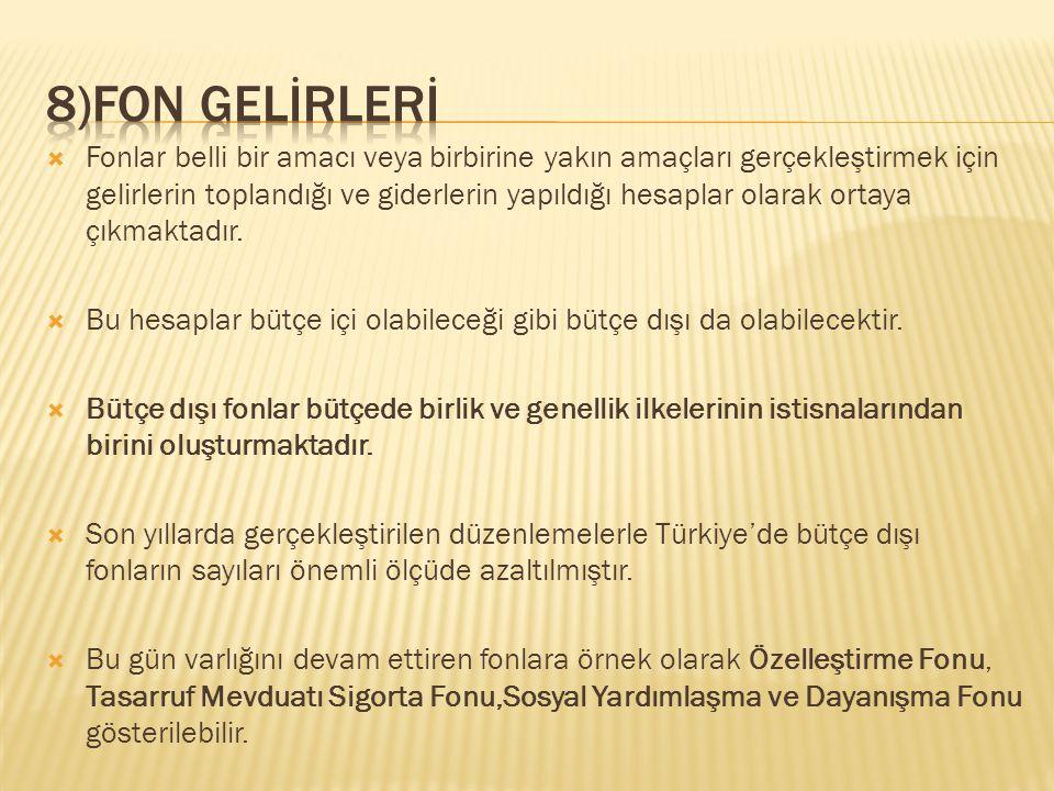 8)Fon GELİRLERİ