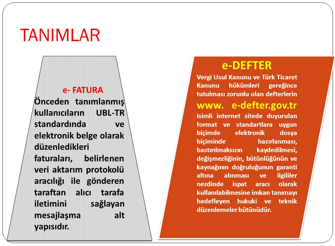 TANIMLAR e-DEFTER e- FATURA