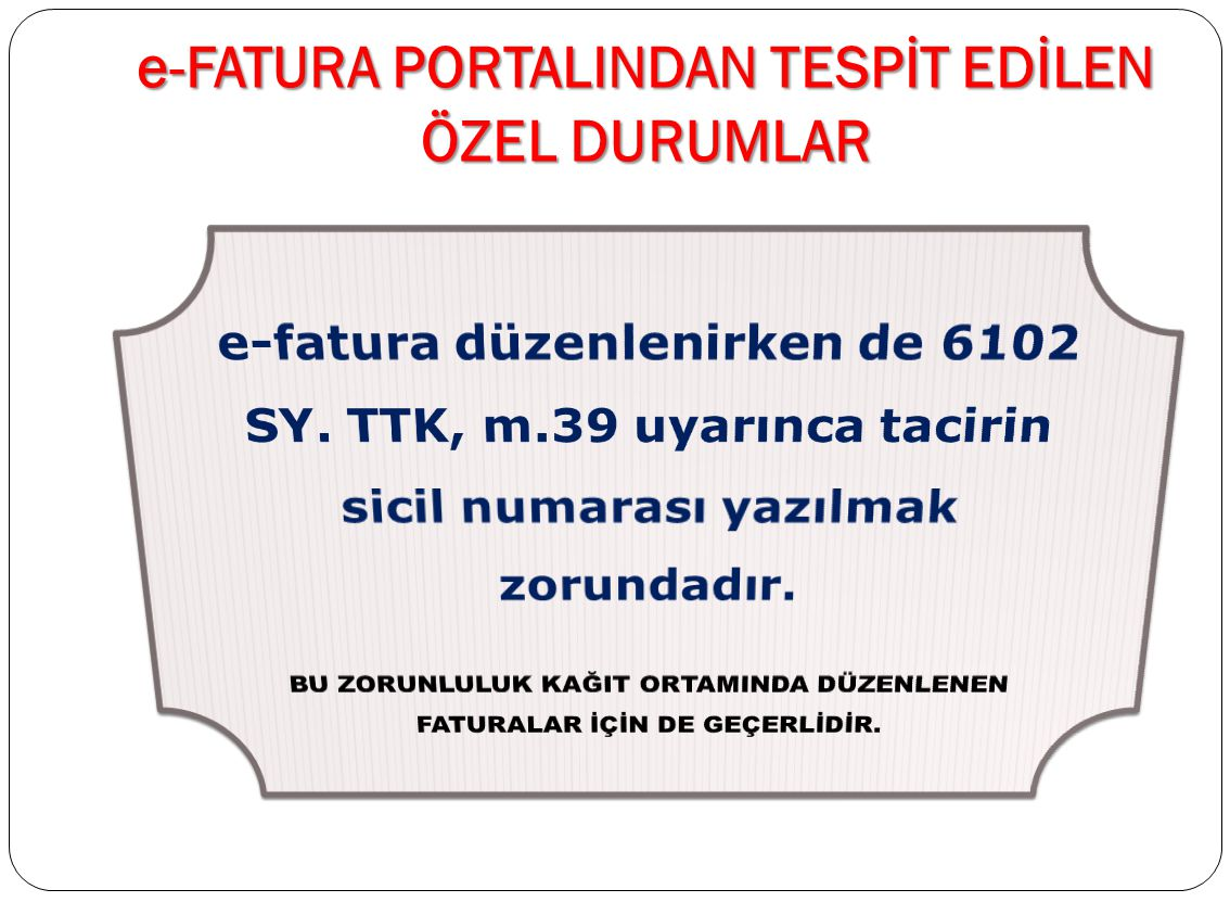 e-FATURA PORTALINDAN TESPİT EDİLEN ÖZEL DURUMLAR