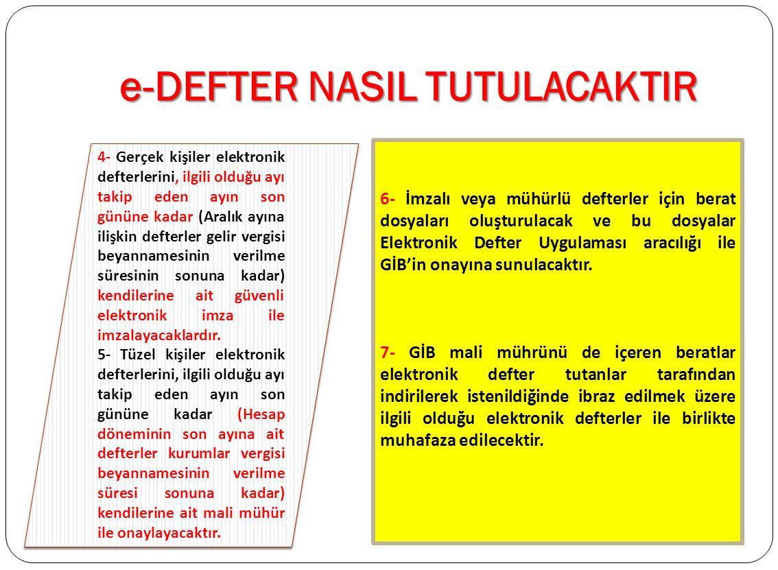 e-DEFTER NASIL TUTULACAKTIR