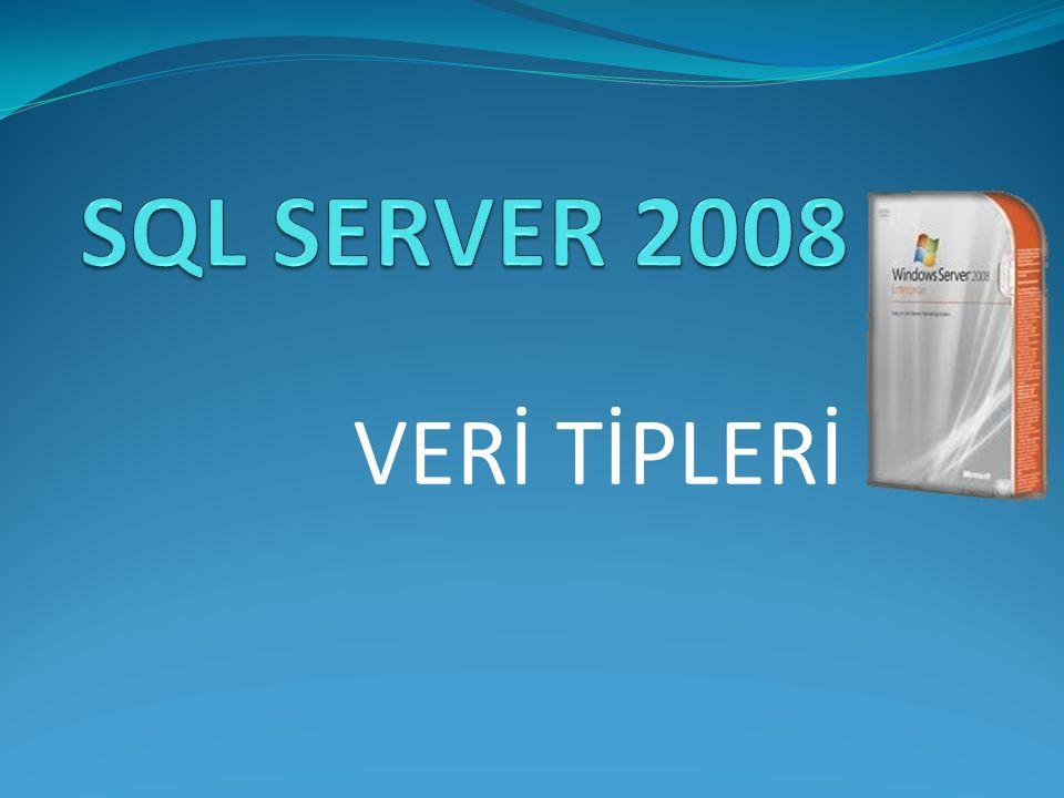 SQL SERVER 2008 VERİ TİPLERİ