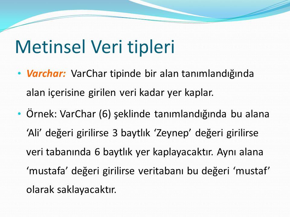Metinsel Veri tipleri Varchar: VarChar tipinde bir alan tanımlandığında alan içerisine girilen veri kadar yer kaplar.