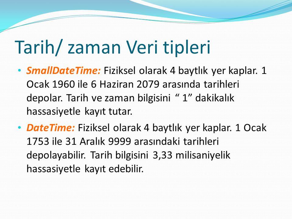 Tarih/ zaman Veri tipleri