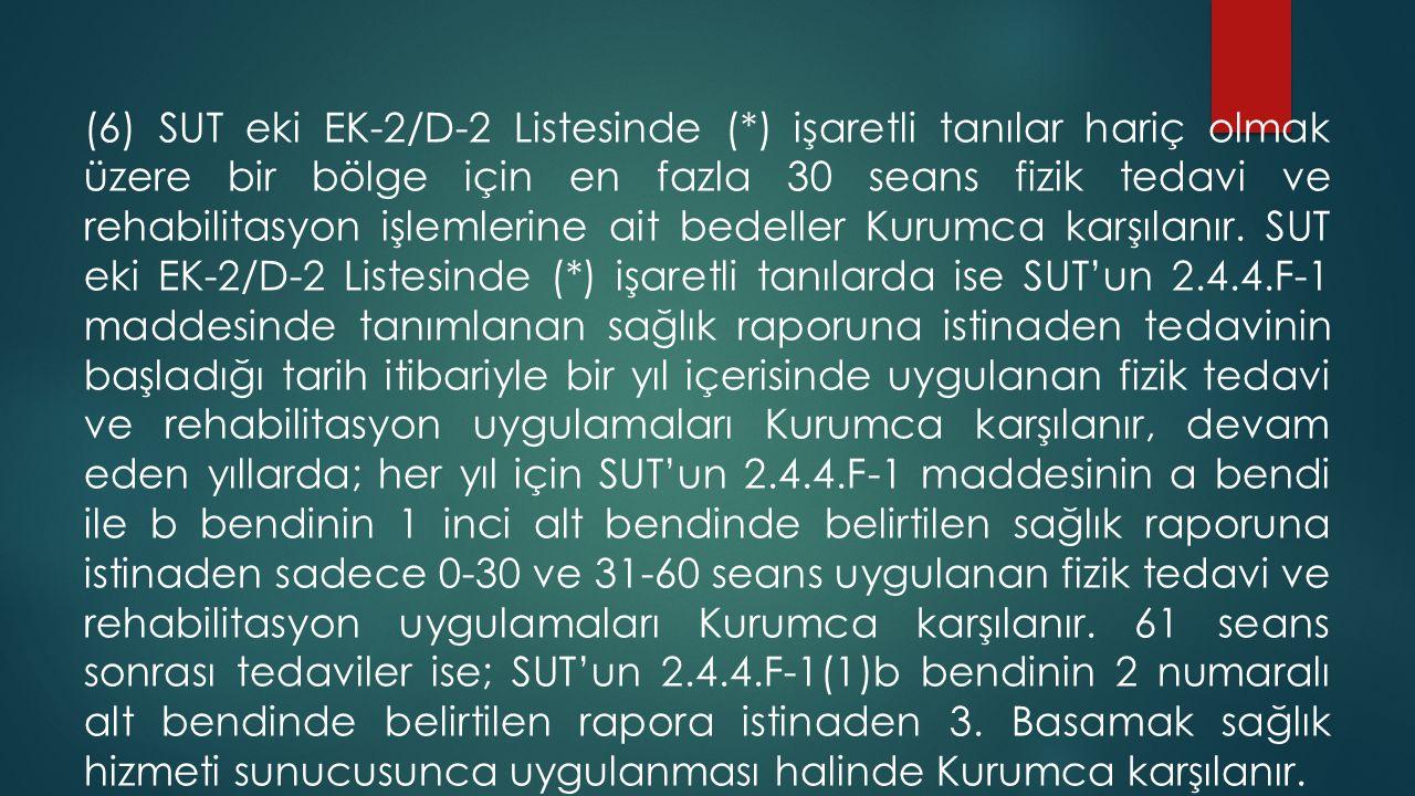 (6) SUT eki EK-2/D-2 Listesinde (