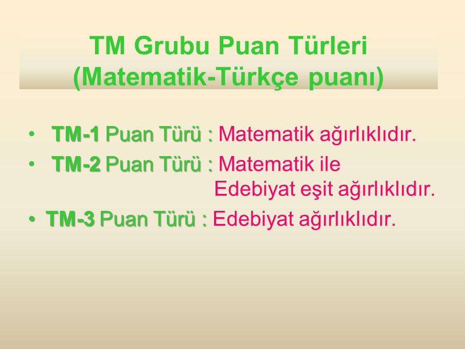 TM Grubu Puan Türleri (Matematik-Türkçe puanı)