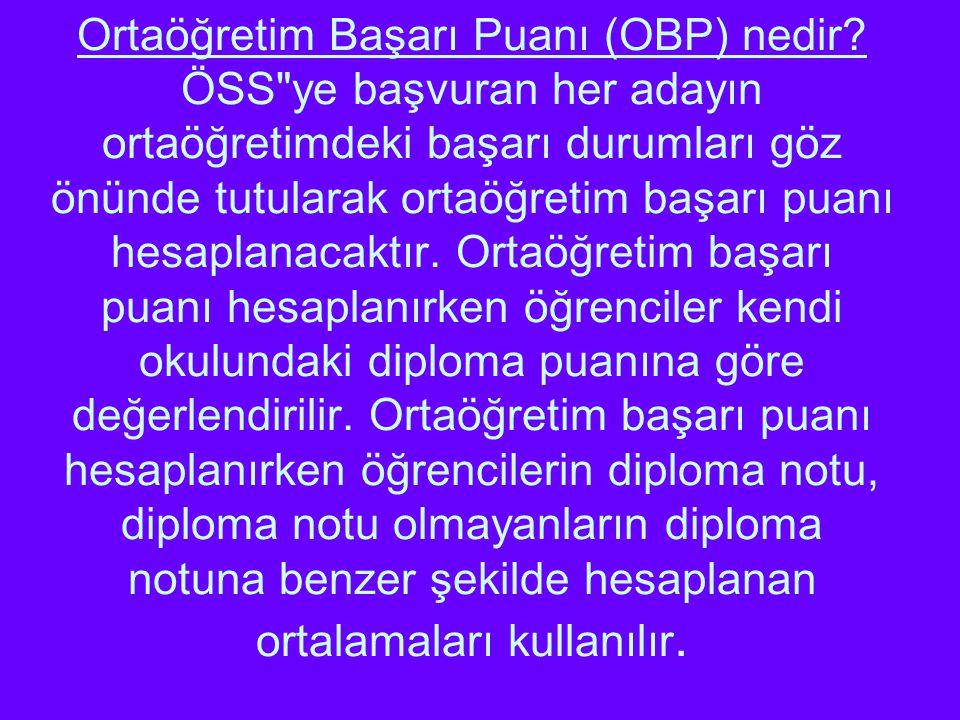 Ortaöğretim Başarı Puanı (OBP) nedir