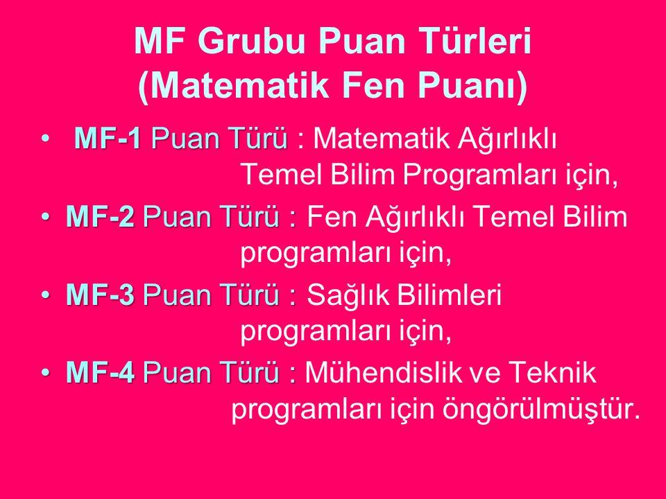 MF Grubu Puan Türleri (Matematik Fen Puanı)