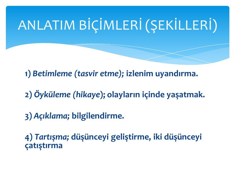 ANLATIM BİÇİMLERİ (ŞEKİLLERİ)