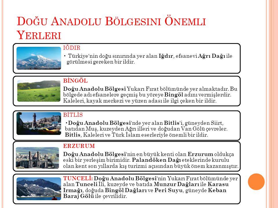Doğu Anadolu Bölgesini Önemli Yerleri