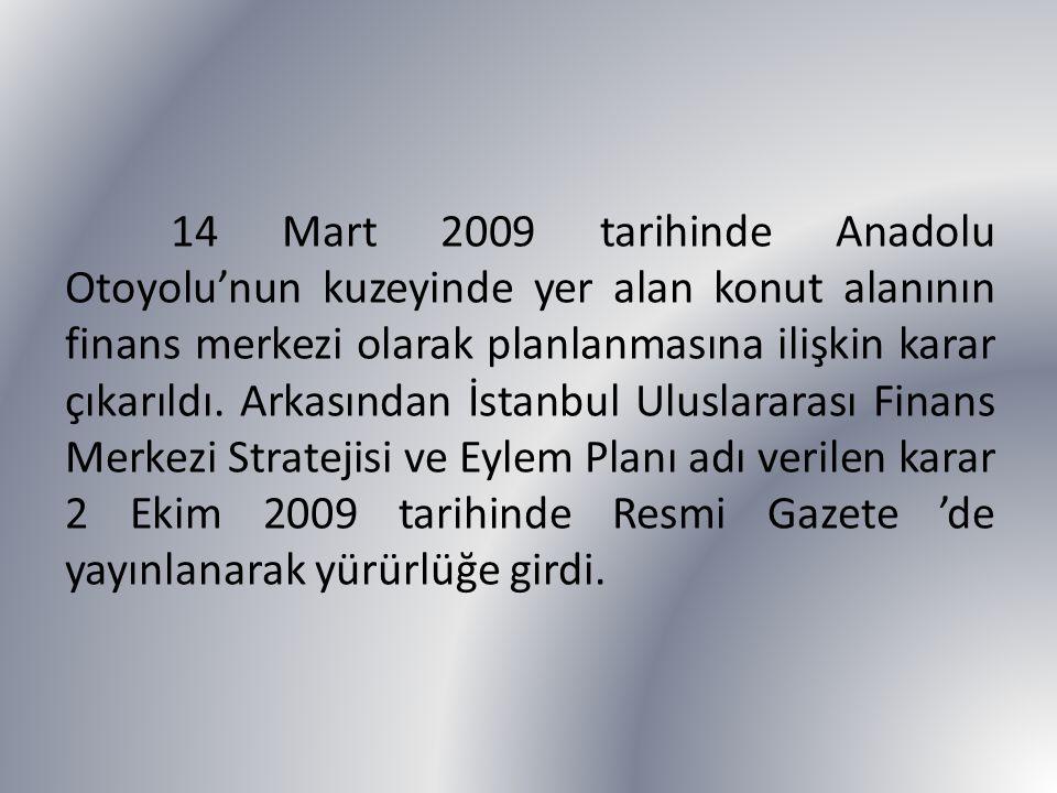 14 Mart 2009 tarihinde Anadolu Otoyolu'nun kuzeyinde yer alan konut alanının finans merkezi olarak planlanmasına ilişkin karar çıkarıldı.