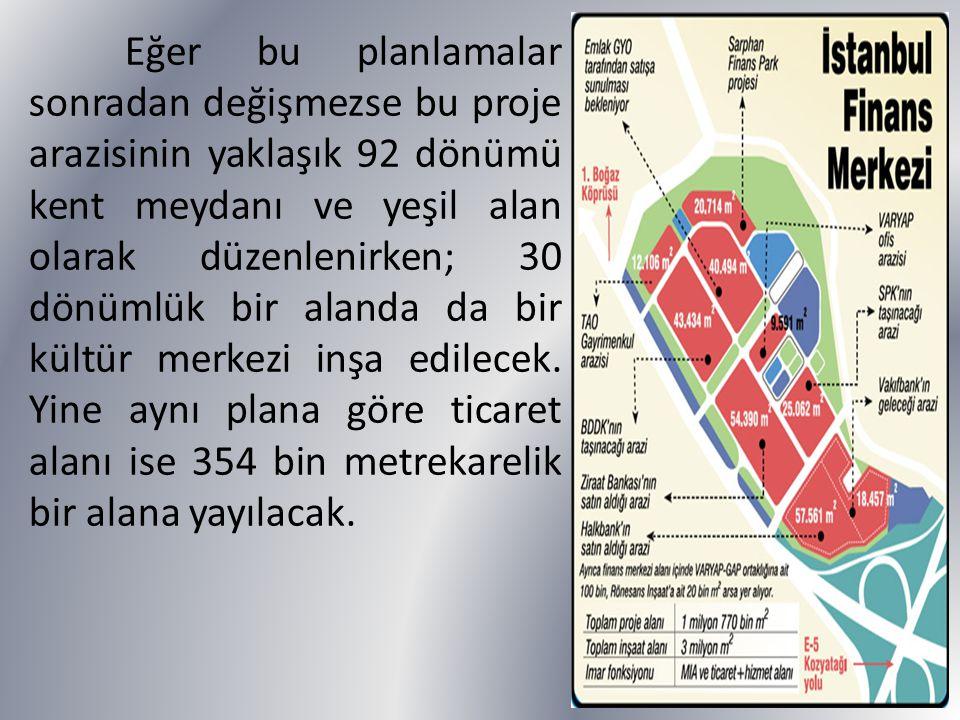 Eğer bu planlamalar sonradan değişmezse bu proje arazisinin yaklaşık 92 dönümü kent meydanı ve yeşil alan olarak düzenlenirken; 30 dönümlük bir alanda da bir kültür merkezi inşa edilecek.