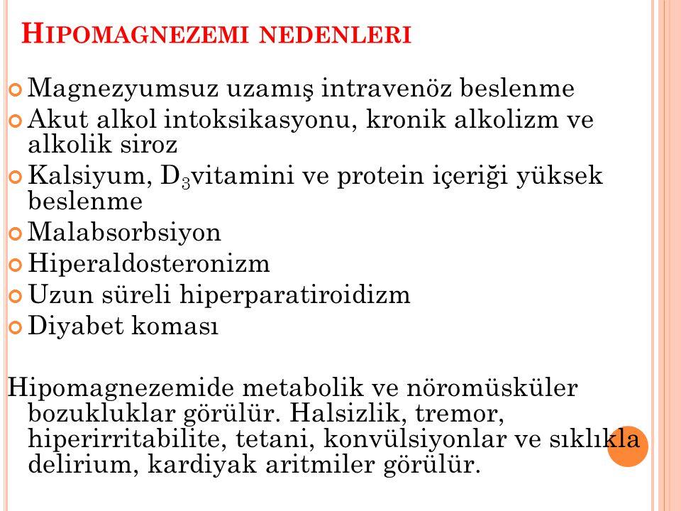 Hipomagnezemi nedenleri