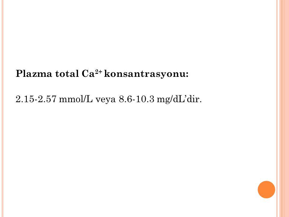 Plazma total Ca2+ konsantrasyonu: 2. 15-2. 57 mmol/L veya 8. 6-10