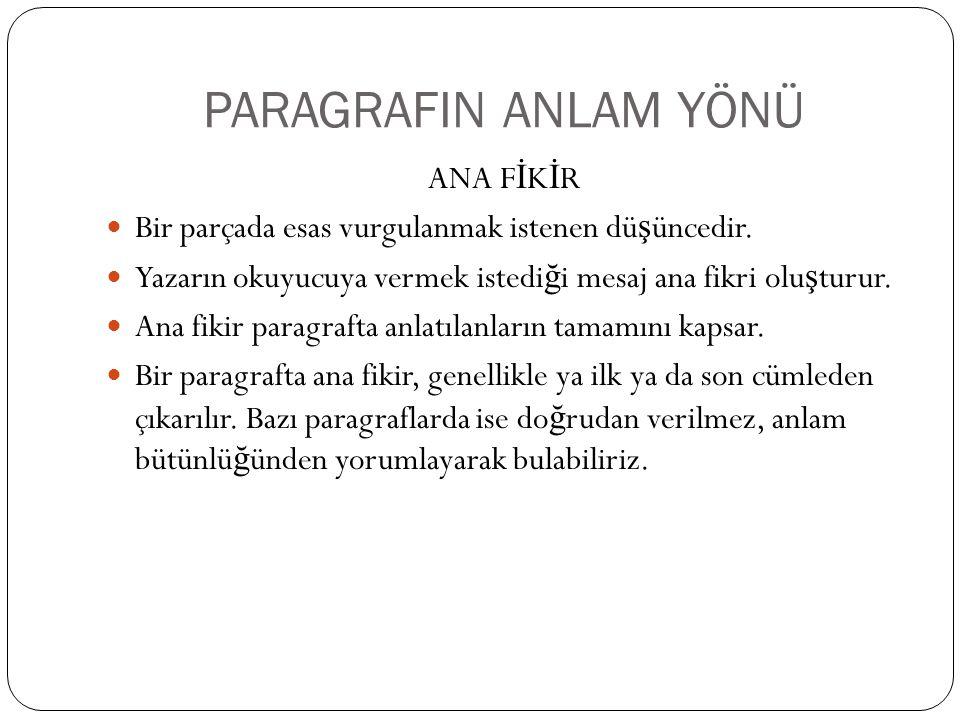 PARAGRAFIN ANLAM YÖNÜ ANA FİKİR