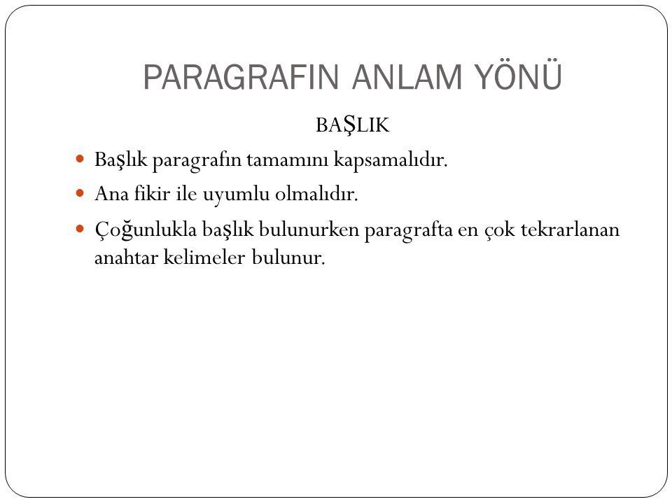PARAGRAFIN ANLAM YÖNÜ BAŞLIK Başlık paragrafın tamamını kapsamalıdır.
