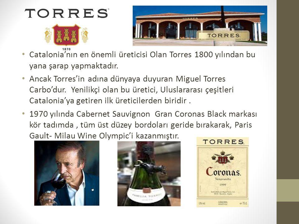 Catalonia'nın en önemli üreticisi Olan Torres 1800 yılından bu yana şarap yapmaktadır.