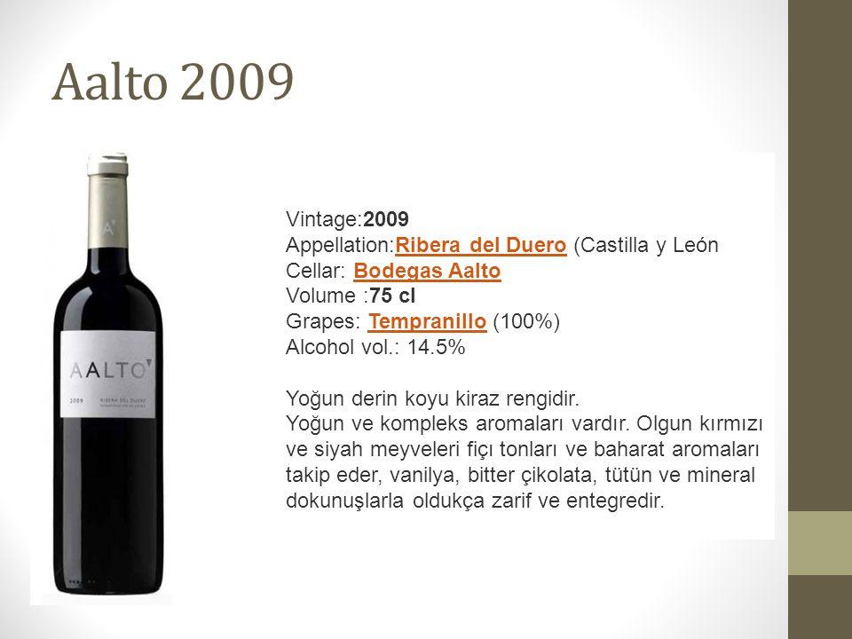 Aalto 2009 Vintage:2009 Appellation:Ribera del Duero (Castilla y León