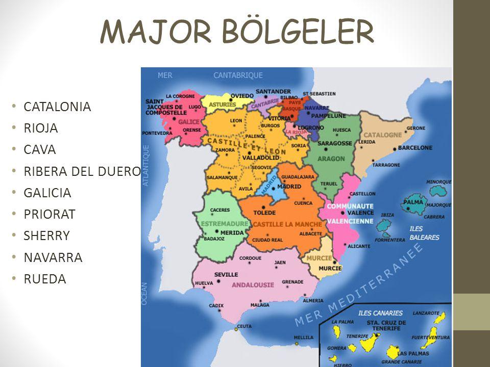 MAJOR BÖLGELER CATALONIA RIOJA CAVA RIBERA DEL DUERO GALICIA PRIORAT