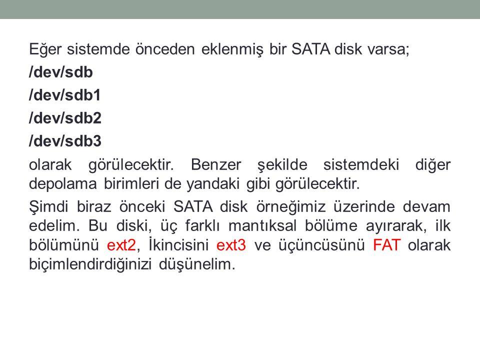 Eğer sistemde önceden eklenmiş bir SATA disk varsa; /dev/sdb /dev/sdb1 /dev/sdb2 /dev/sdb3 olarak görülecektir.