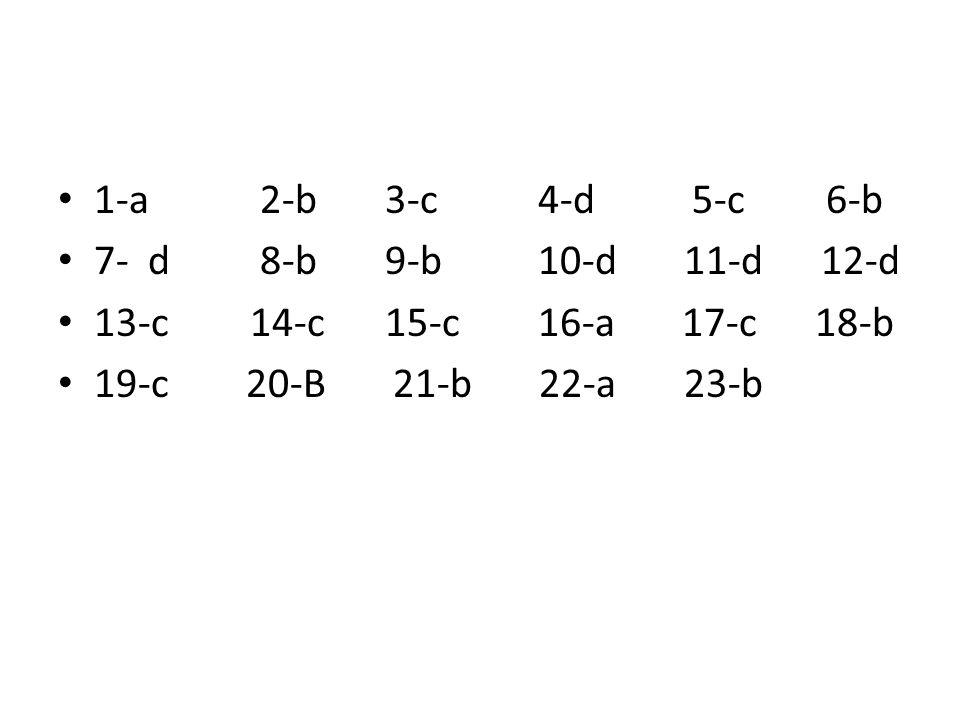 1-a 2-b 3-c 4-d 5-c 6-b 7- d 8-b 9-b 10-d 11-d 12-d. 13-c 14-c 15-c 16-a 17-c 18-b.