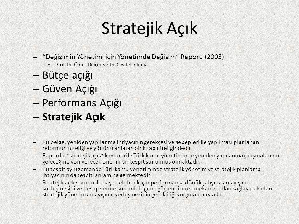 Stratejik Açık Bütçe açığı Güven Açığı Performans Açığı Stratejik Açık