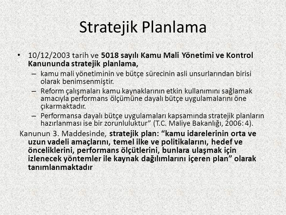 Stratejik Planlama 10/12/2003 tarih ve 5018 sayılı Kamu Mali Yönetimi ve Kontrol Kanununda stratejik planlama,