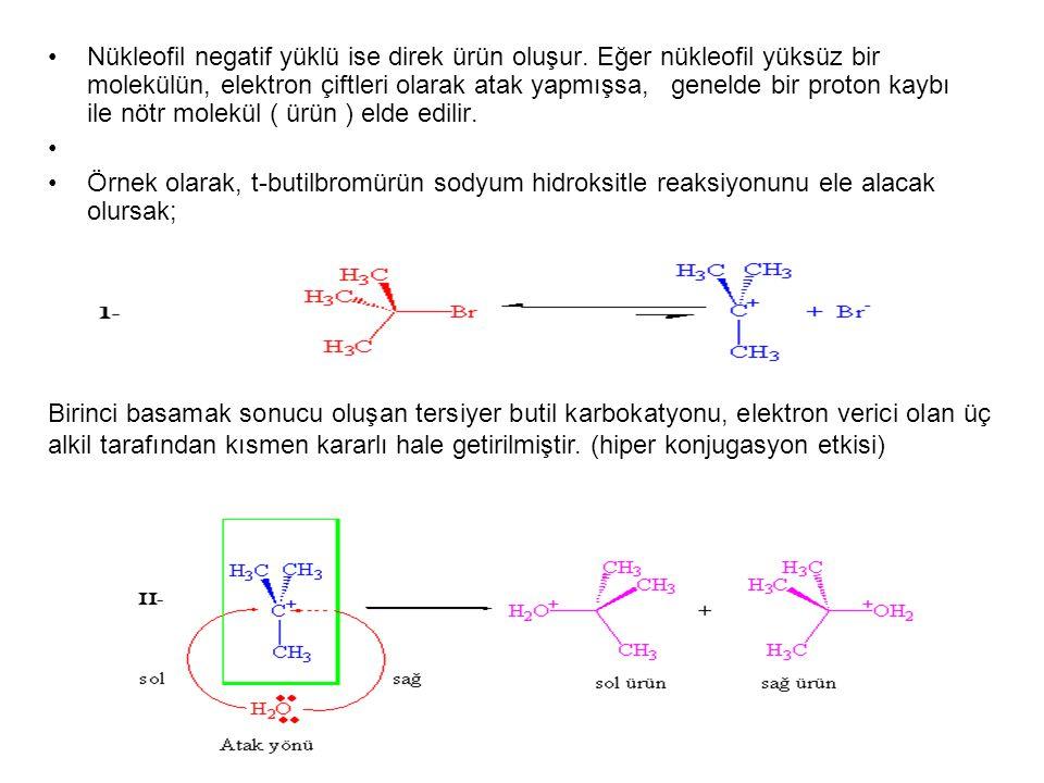 Nükleofil negatif yüklü ise direk ürün oluşur