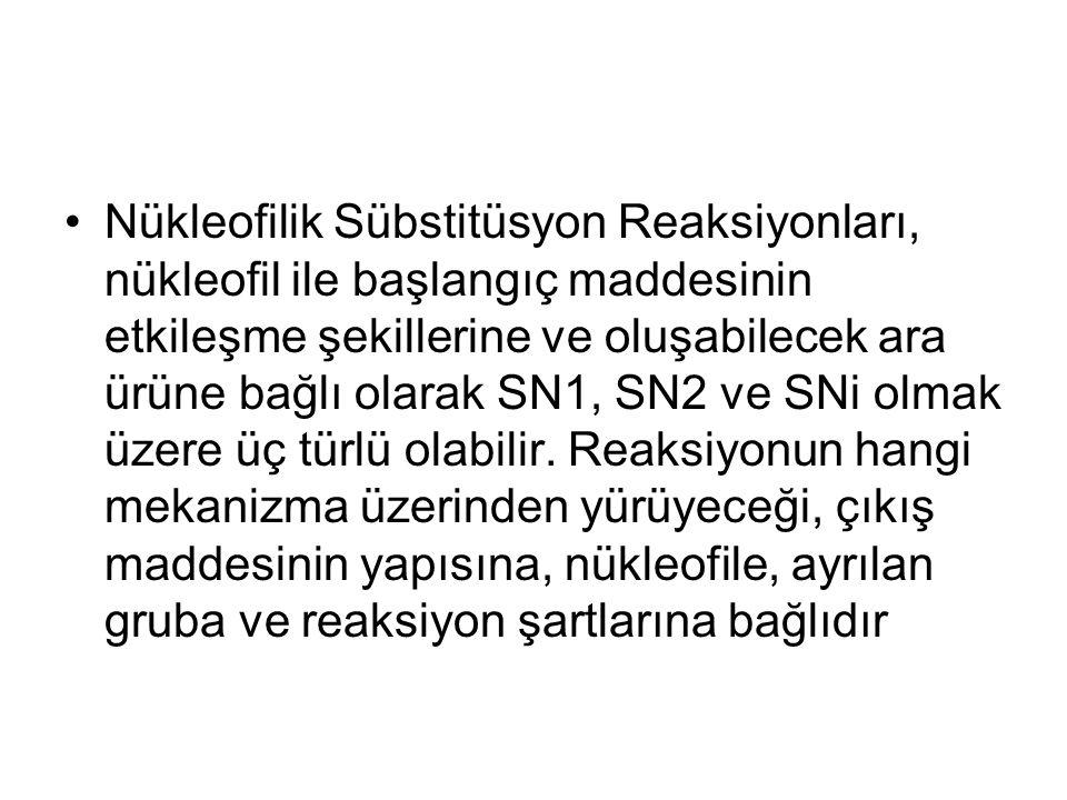Nükleofilik Sübstitüsyon Reaksiyonları, nükleofil ile başlangıç maddesinin etkileşme şekillerine ve oluşabilecek ara ürüne bağlı olarak SN1, SN2 ve SNi olmak üzere üç türlü olabilir.