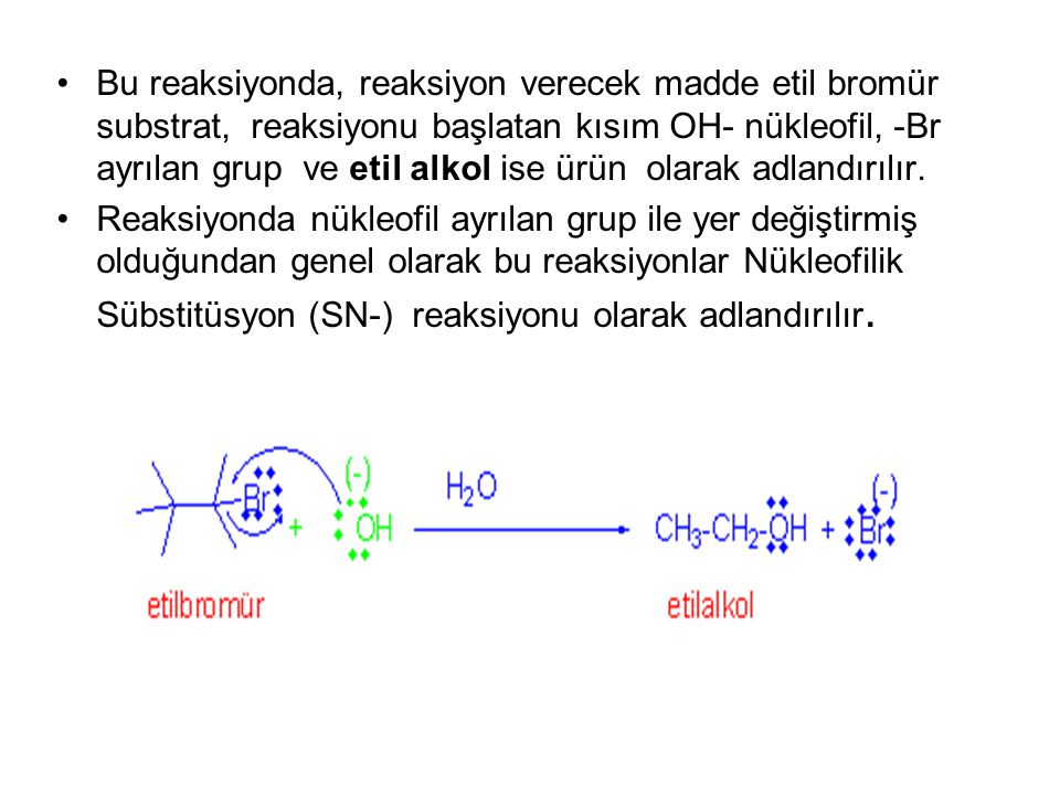 Bu reaksiyonda, reaksiyon verecek madde etil bromür substrat, reaksiyonu başlatan kısım OH- nükleofil, -Br ayrılan grup ve etil alkol ise ürün olarak adlandırılır.