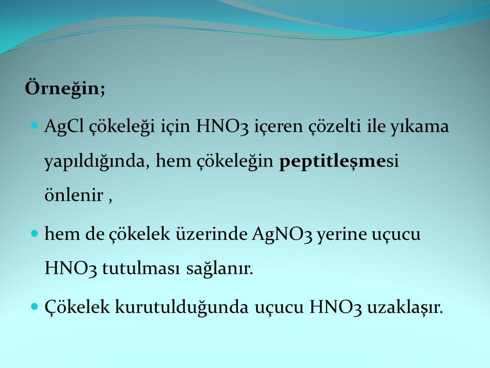 Örneğin; AgCl çökeleği için HNO3 içeren çözelti ile yıkama yapıldığında, hem çökeleğin peptitleşmesi önlenir ,